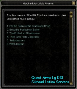 Quest  Arma Legend d13 Silkroad Latino